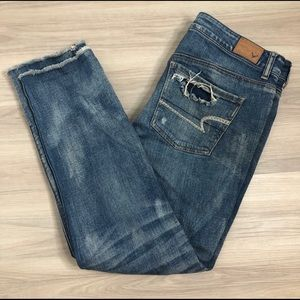 America Eagle Outfitters button fly destroyed jean